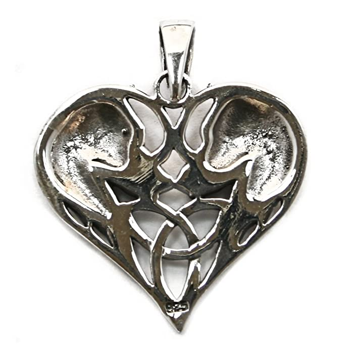 Solid Sterling Silver Wolf Wolves Heart Triquetra Pagan Pendant (P038) HNoJBre5Fm