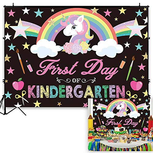Funnytree 7x5ft Back to School Theme Party Backdrop First Day of Kindergarten Unicorn Rainbow Photography Background Cartoon Stars Blackboard Chalk Baby Girl Cake Table Decoration Banner Photo Booth
