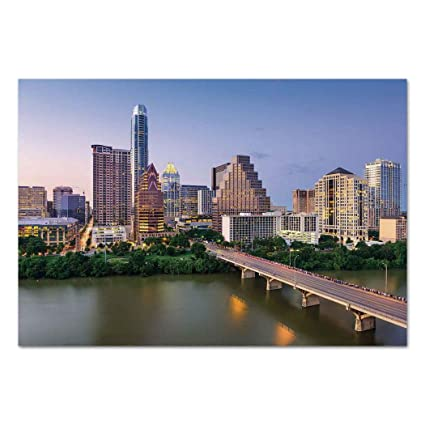 Large Wall Mural Sticker [ Modern,Austin Texas American City Bridge over the Lake Skyscrapers