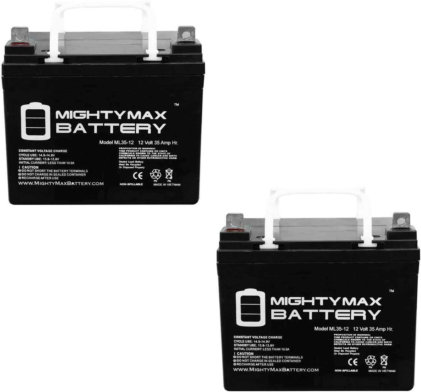 Mighty Max Battery ML35-12 - 12V 35AH U1 Replacement Battery MK MU-1SLD M AGM NUT and TERMINALS - 2 Pack Brand Product