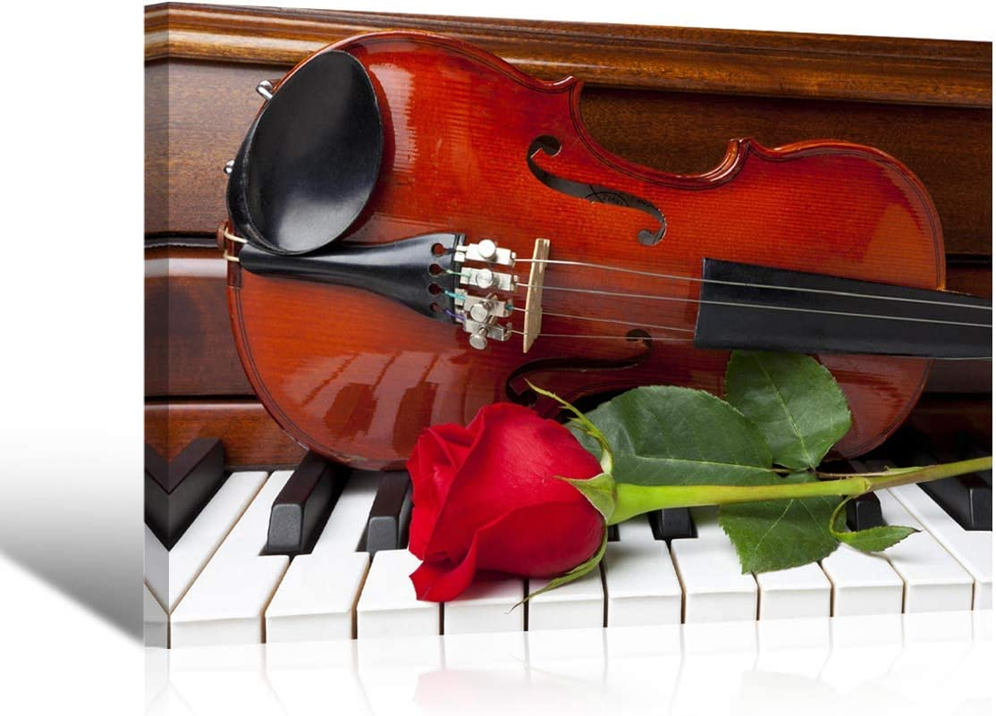 Purple Verbena Art Red Rose Violin on The Piano Classic Pictures Photo Prints on Canvas Wall Paintings, High Giclee Walls Artwork for Home Study Room Decor, Stretched and Framed 10 x14 Inches
