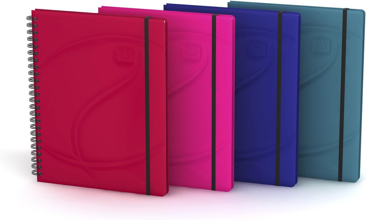 Oxford Beauty - Pack de 5 cuadernos microperforados doble espiral, tapa acolchada, A5+: Amazon.es: Oficina y papelería
