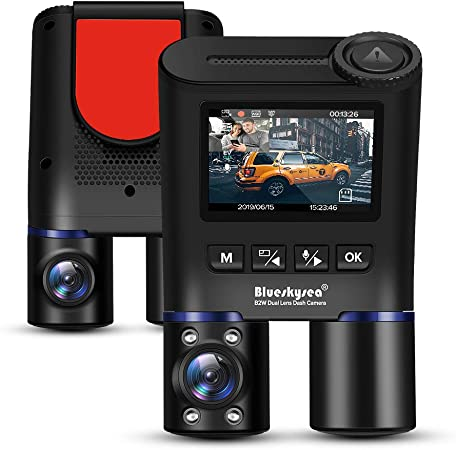 Blueskysea B2W Dual Lens Dash Cam Compatible for Taxi, Infrared Night Vision Car Camera Full HD 1080P Front and Inside Views Dash Camera with 32GB SD Card 400GB max , Sony Starvis Sensors