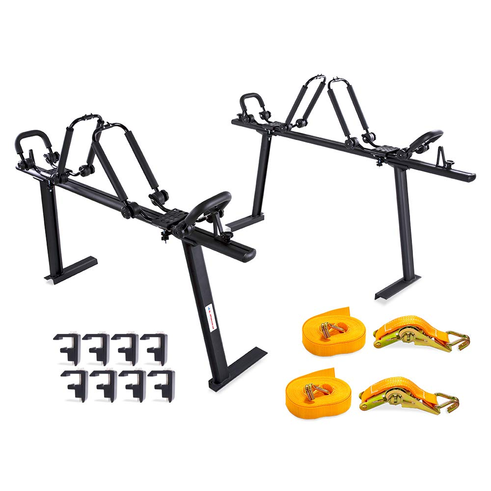 AA Products APX25 Toyota Tacoma 2016-On Aluminum Truck Rack (8) Non-Drilling C-Clamps (2 Sets) Steel Double Folding Kayak J-Racks w/Extended Bolts (2) Heavy Duty 1 Ton Ratcheting Strap