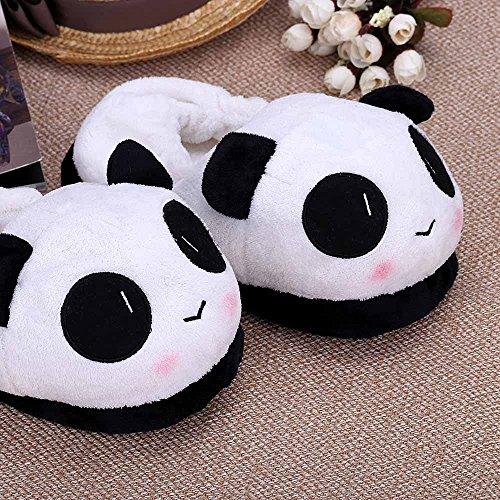 Set Hardware Slipper (Indoor Novelty Slipper Lovely Cartoon Panda Face Soft Plush Household Thermal Shoes 26cm / 10.24in)