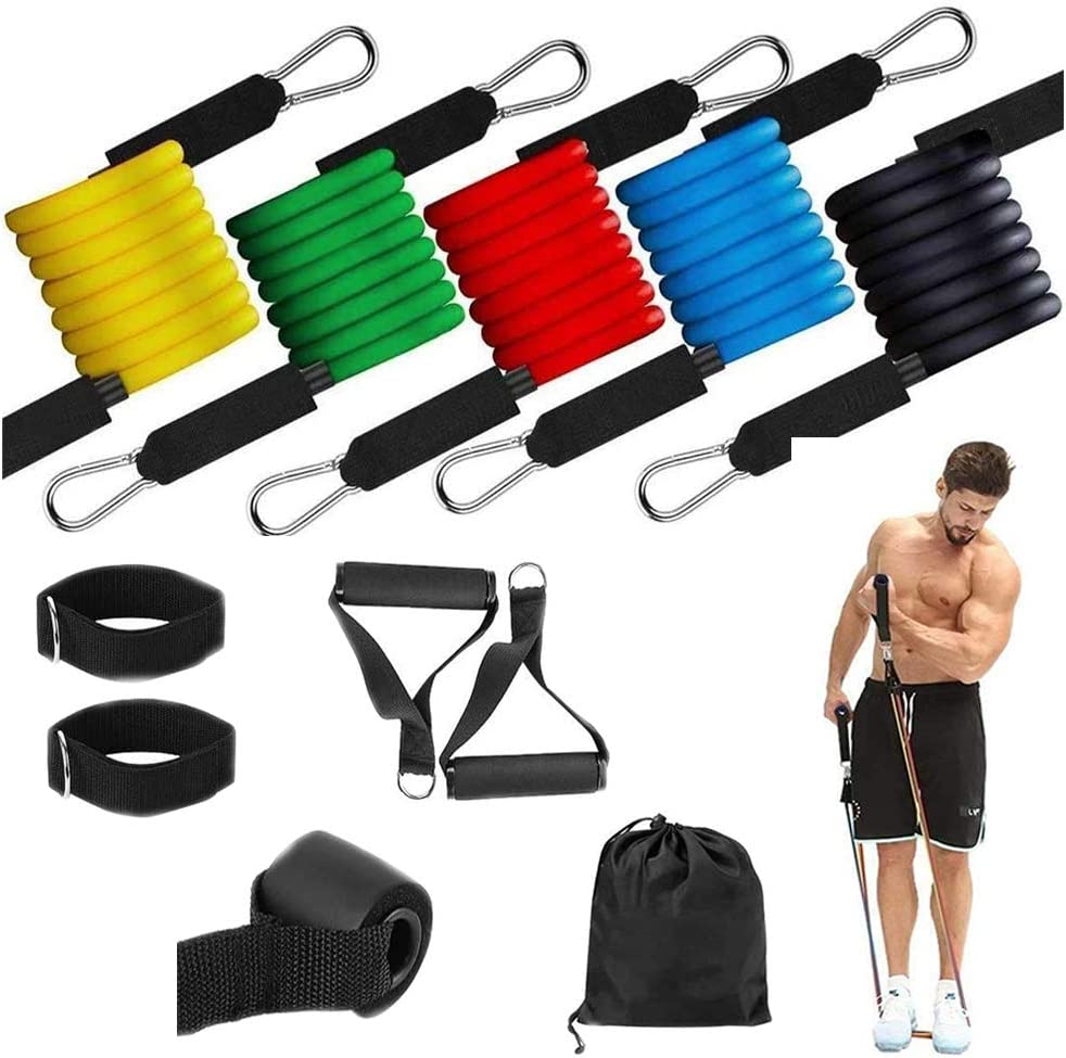 Training Tube with Door Anchors and Ankle Straps for Strength Training,Fitness Resistance Band Tension Rope HENG BANG 11-Piece Home Workouts Bands Handlebar Workout Resistance Bands