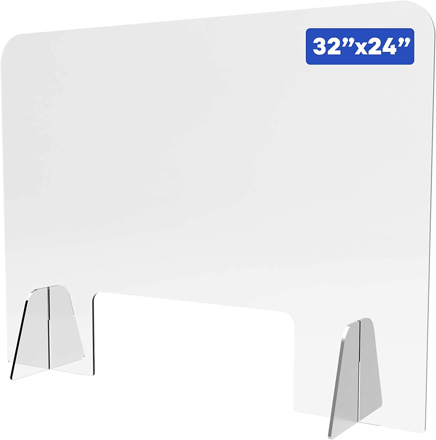 """Shield Geek Premium Sneeze Guard for Counter - Freestanding Plexiglass Shield with Larger Opening at the Bottom - Crystal Clear Acrylic - for Business, Cashier Counters, and Restaurants 32"""" x 24"""""""