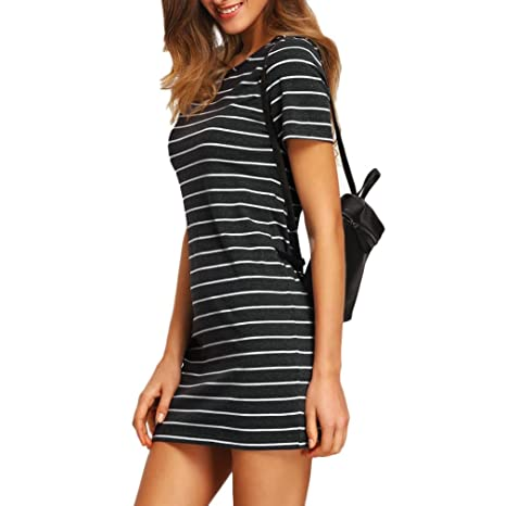 Yang-Yi Clearance, Hot 2018 Fashion Womens Stripe Short Sleeve Striped Loose T-Shirt Dress at Amazon Womens Clothing store: