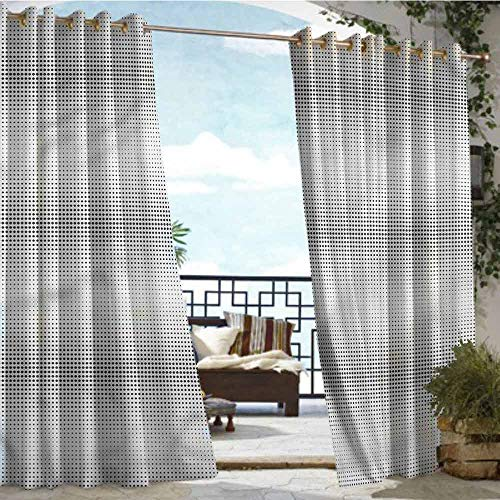 crabee Outdoor Balcony Privacy Curtain Contemporary,Dots Pattern Halftone,W84 xL84 Outdoor Curtain for Patio,Outdoor Patio Curtains ()