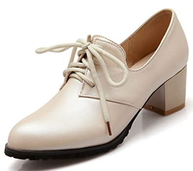 7b45912e40b39 IDIFU Women's Vintage Pointed Toe Mid Block Heels Lace Up Oxfords Shoes