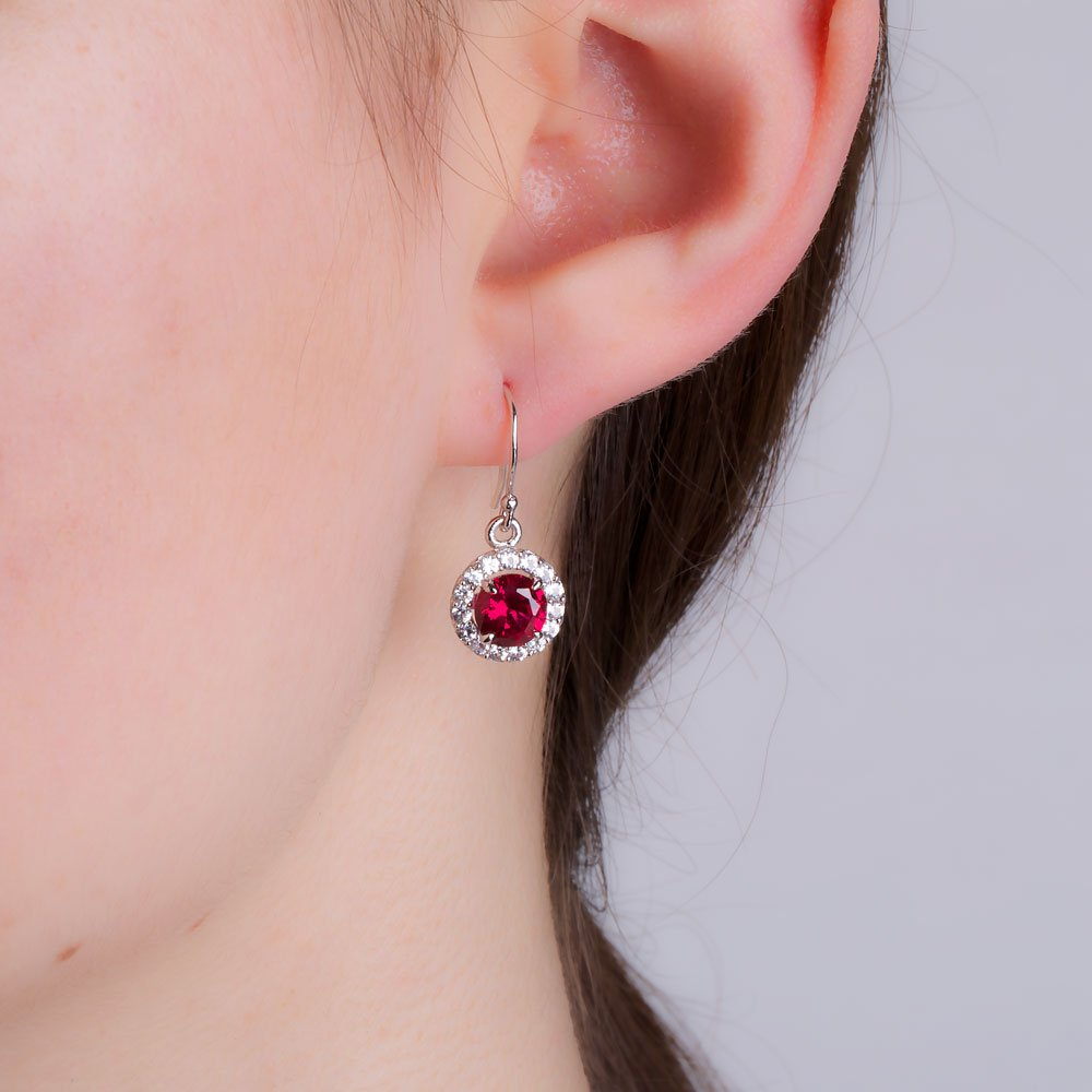 Stardust 2.7ct Ruby and Diamond Halo Silver Drop Earrings (WHITE GOLD) XZ0wadR6
