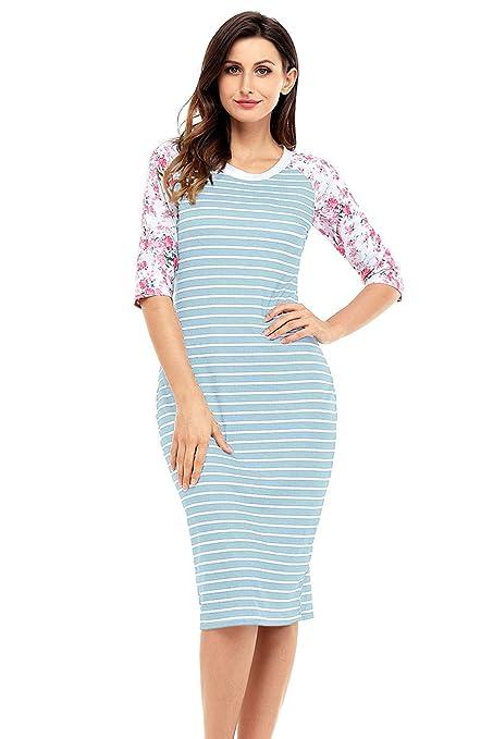 Vestido mediano, diseño de rayas de color azul y blanco, talla M