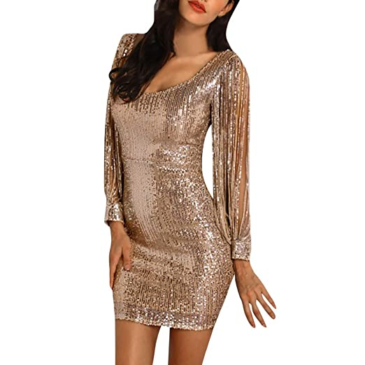Image Unavailable. Image not available for. Color  Women Sequins Party Club Dress  Sexy Sparkle Glitzy Glam Tassel Long Sleeve Flapper Short Dresses 2019 fc5d19d4200e