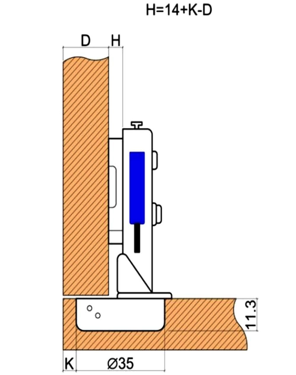 AERZETIX 4 charni/ères Invisibles 105/° avec Clip Amortisseur 3D r/églage pour Porte de Meuble en Applique recouvrement Total C41043