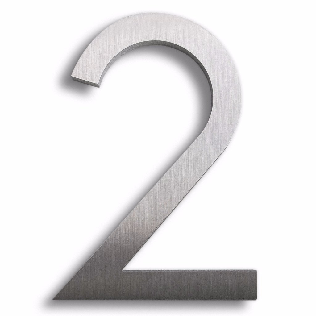 Modern House Number Aluminum Modern Font Number Two 2-8 inch