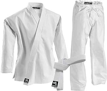 Karate Gi Student Uniform with Belt Zephyr Martial Arts K-Pro 14 oz White