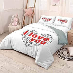 HELLOLEON Love Pure Bedding Hotel Luxury Bed Linen Expressions from Various Languages Te Amo Je Taime Te Amo Valentines Heart Polyester - Soft and Breathable (King) Black White Red