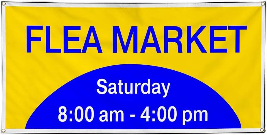 Custom Vinyl Banner Sign Multiple Sizes Flea Market Day Times Blue Yellow Business flea Market Outdoor Blue 10 Grommets 60inx144in One Banner