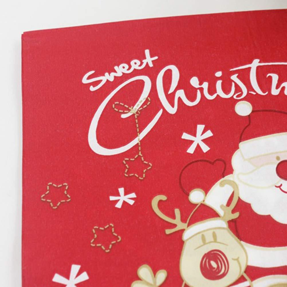 Nuovo di Zecca 20 PZ Tovaglioli di Natale Stampati Babbo Natale Modello Legno polpa di Tessuti Tovaglioli per la Cena di Natale Bomboniere Forniture