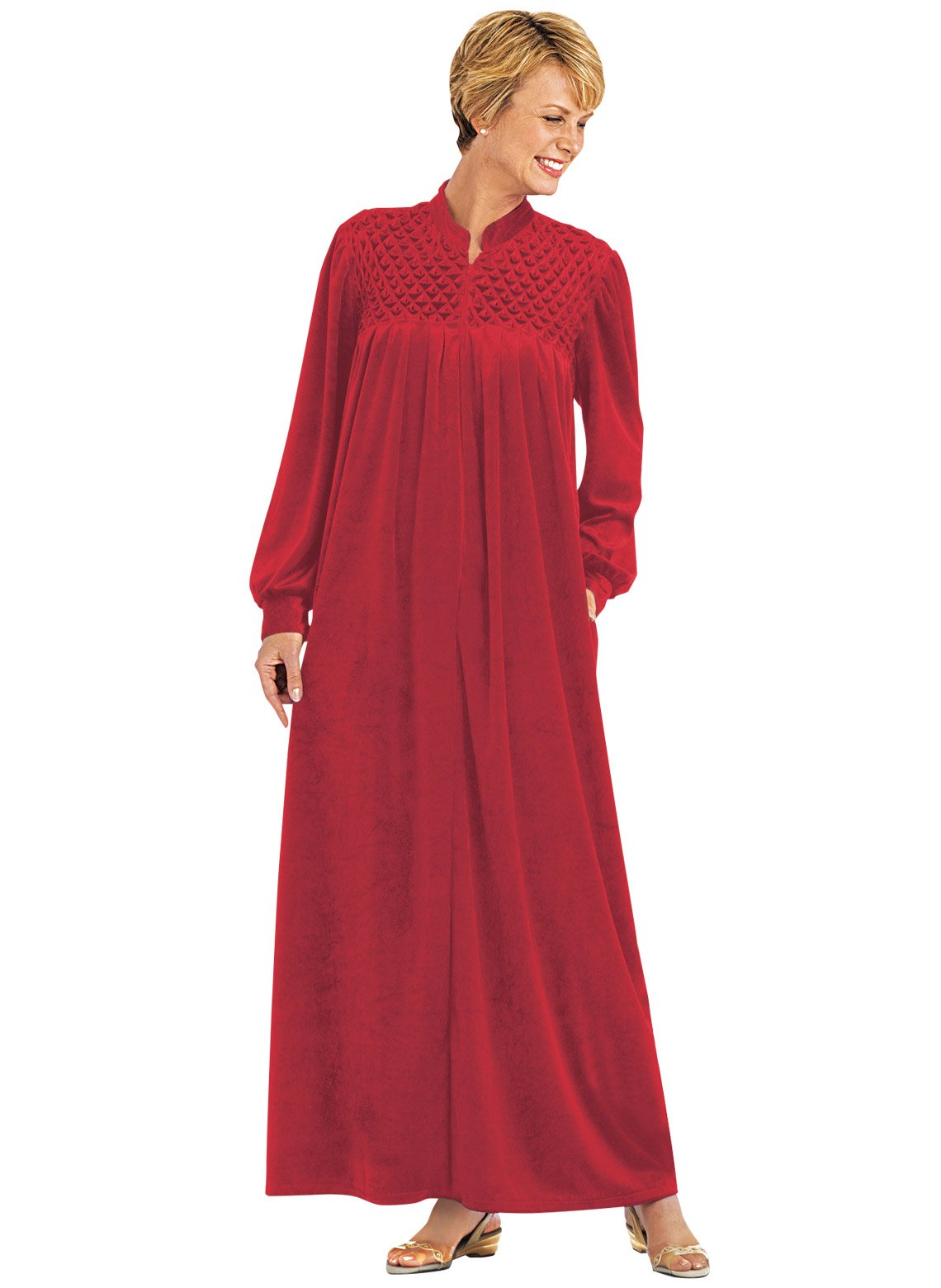 Carol Wright Gifts Zip-Front Velour Robe, Color Red, Size Large, Red, Size Large