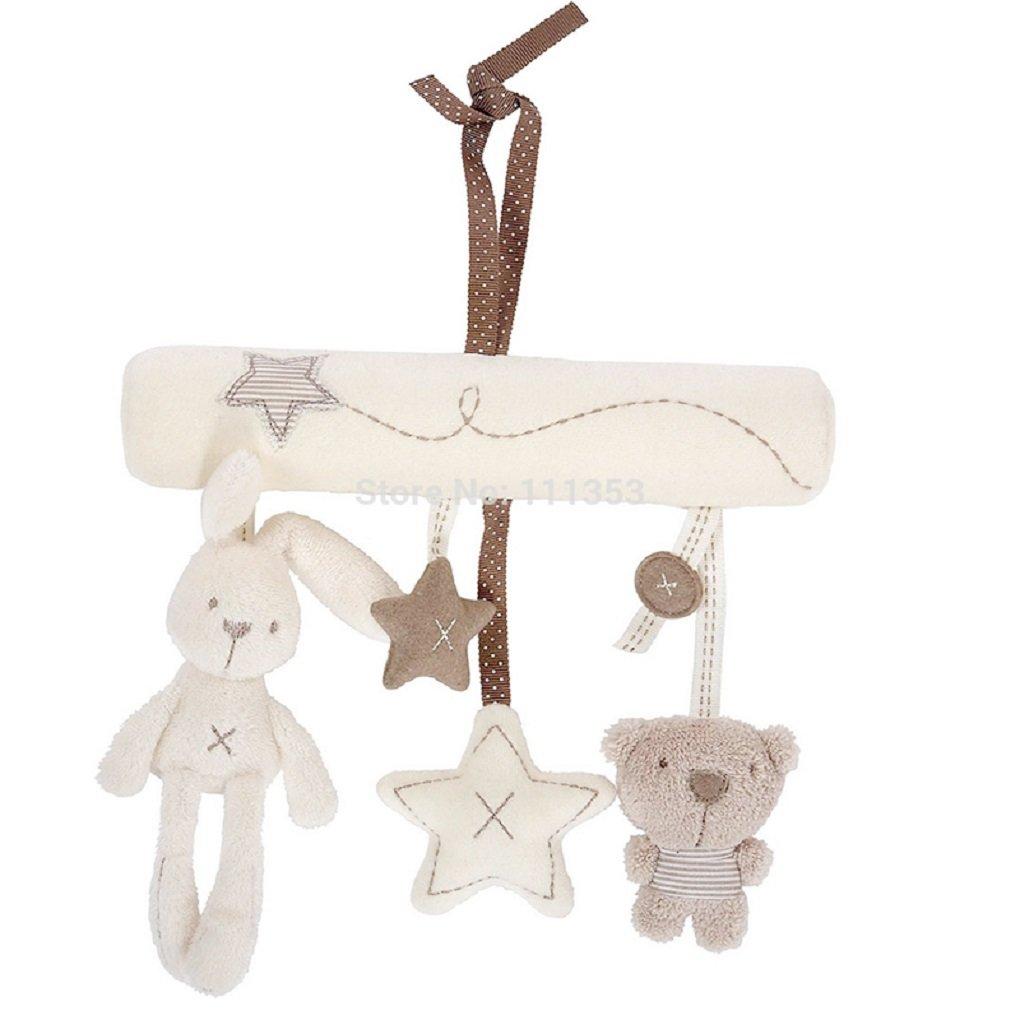 Plush Animals//Stars Baby Infant Car//Crib Hanging Soft Plush Rabbit Bear and Stars Rattles The Crafty Owl
