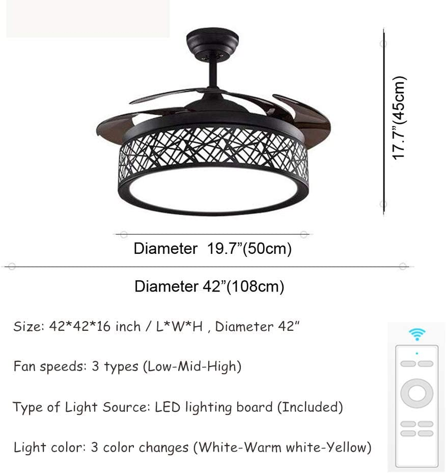 BIGBANBAN 42 inch Modern Chandelier Ceiling Fan with Remote, Three Light Colors Ceiling Fan 4 Retractable Blades for Living Room Bedroom