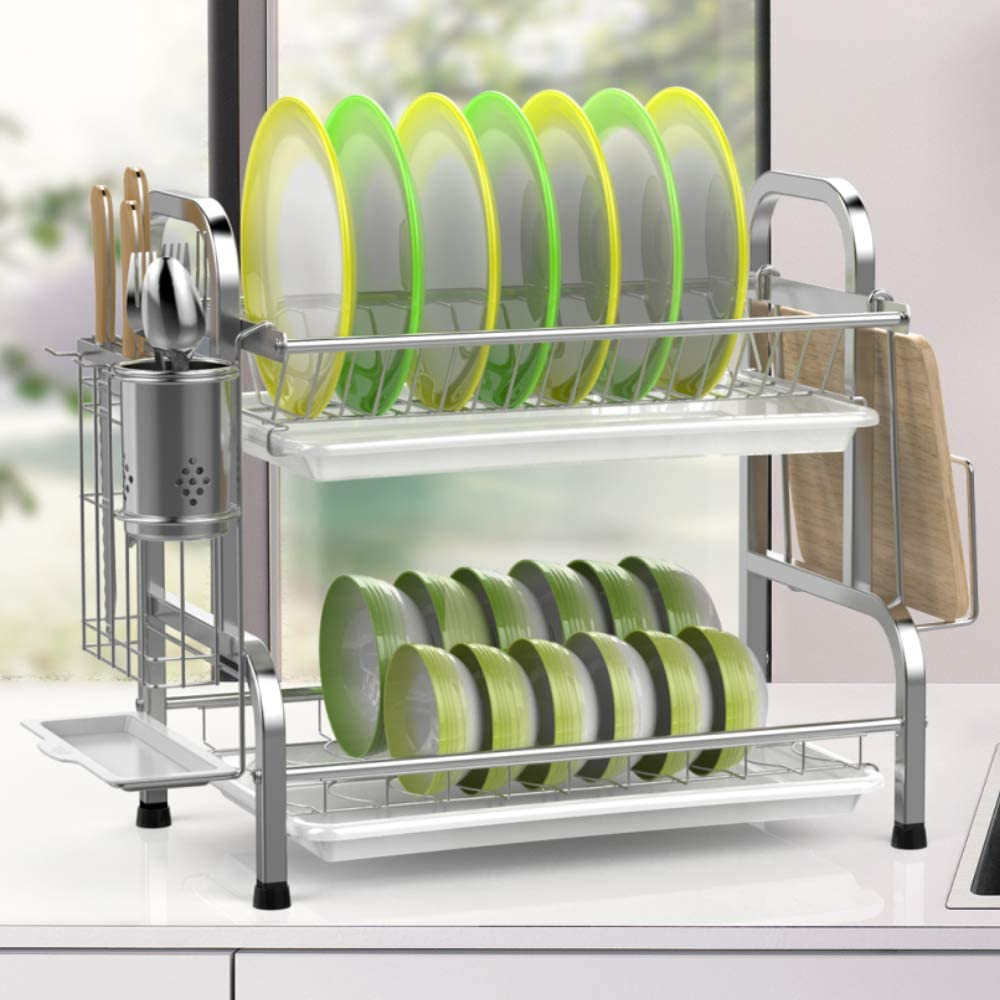 Dish Drying Rack iSPECLE 304 Stainless Steel 2-Tier Dish Rack with Utensil Holder Cutting Board Holder and Dish Drainer for Kitchen Counter