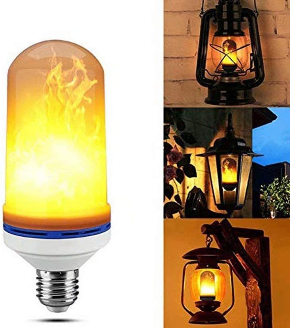 1 Pack,LED Flame Effect Light Bulb Hansang Flickering Fire Bulbs 4 Modes with Upside Down Base Creative Decorative Light Simulated Vintage Flame for Hotel Party-Yellow/_Flame/_Lamp/_Head/_E27