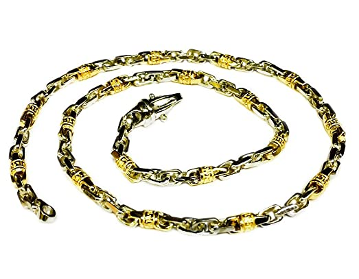 89f6be8d306f4 14k Solid Two Tone Gold Handmade Fashion Link Men's chain/Necklace ...
