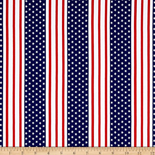 Fabric Cotton Jersey Knit American Stars and Stripes Yard, Multi -