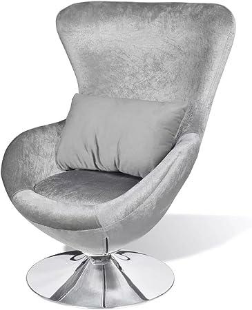 Vislone Fauteuil en Forme d'œuf Fauteuils de Salon Rotation de 360 Degrés Argenté 64 x 64 x 86 cm (lx P x H)