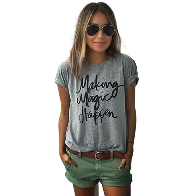 Tongshi Camisa de algodón de las muchachas de la blusa de las mujeres de manga corta