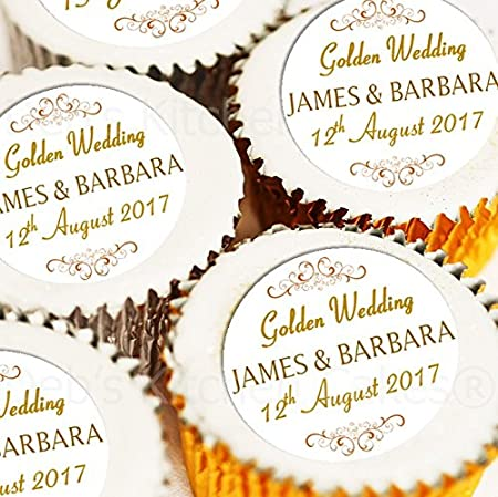 50th Wedding Anniversary Cakes.Golden Wedding Cupake Toppers Personalised Names And Wedding