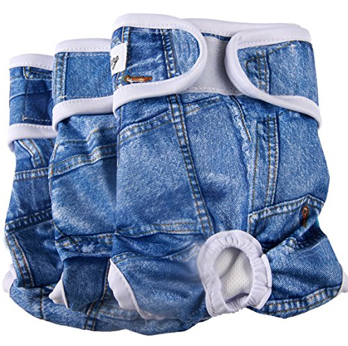 JoyDaog(3 Pack Medium Dog Diapers for Female Washable Premium Jean Dog Nappies Wrap M