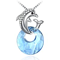 Cute Necklace, Fairy Season Girl Daughter Dolphin Pendant Necklace, Crystals from Swarovski with Jewelry Gift Box for Women …