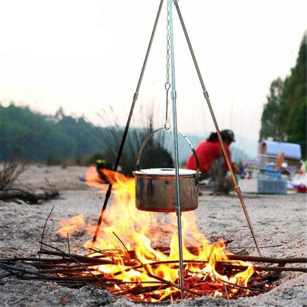 ACHICOO Camping en Plein air Trépied Cuisine Grillade Campfire Pique-Nique Alliage Support à Pot Glossy - black
