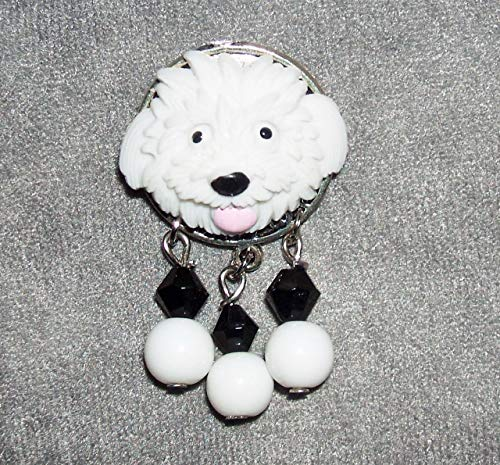 WHITE PUPPY DOG Brooch Pin Fun Whimsical One
