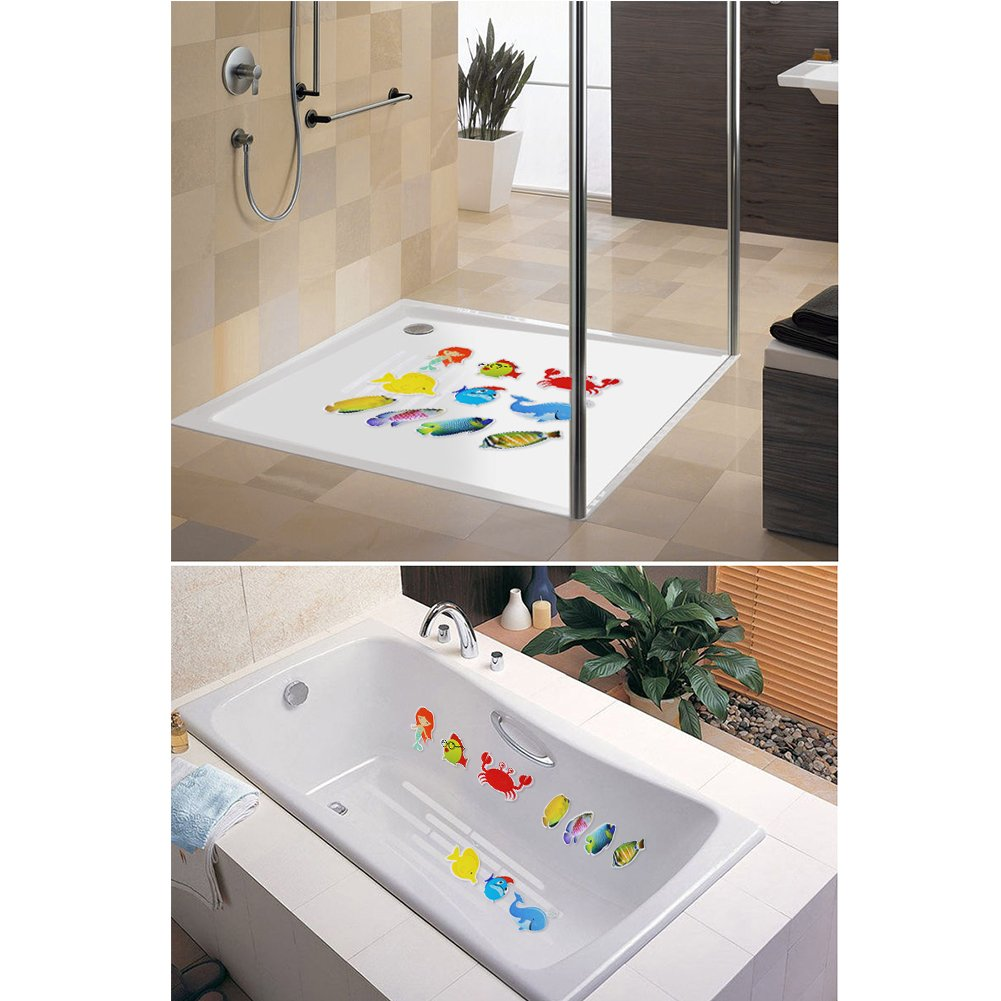 FuturePlusX Bathtub Sticker, 10PCS Adhesive Safety Treads Non-Slip Bathtub Appliques Accessories for Tubs Bathrooms Showers Pools Boats Stairs