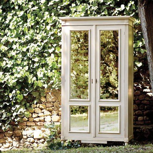 Amazon Com Casa Florentina Louis Xvi Armoire With Antique Mirrored Doors Ballard Designs Furniture Decor