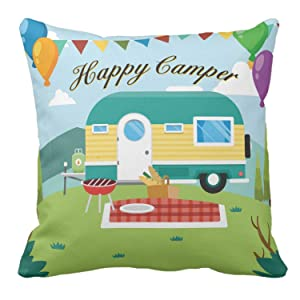 Kissenday 18X18 Inch Happy Camper Lovely Quote Fun Saying Cotton Polyester Decorative Home Decor Sofa Couch Desk Chair Bedroom Car Birthday Gift Square Throw Pillow Case Classic Decoration Pillowcase