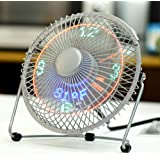 LICHAMP Clock Fan with Floating Led Time Display, Desk Usb Led Fan with Clock Light, 7""