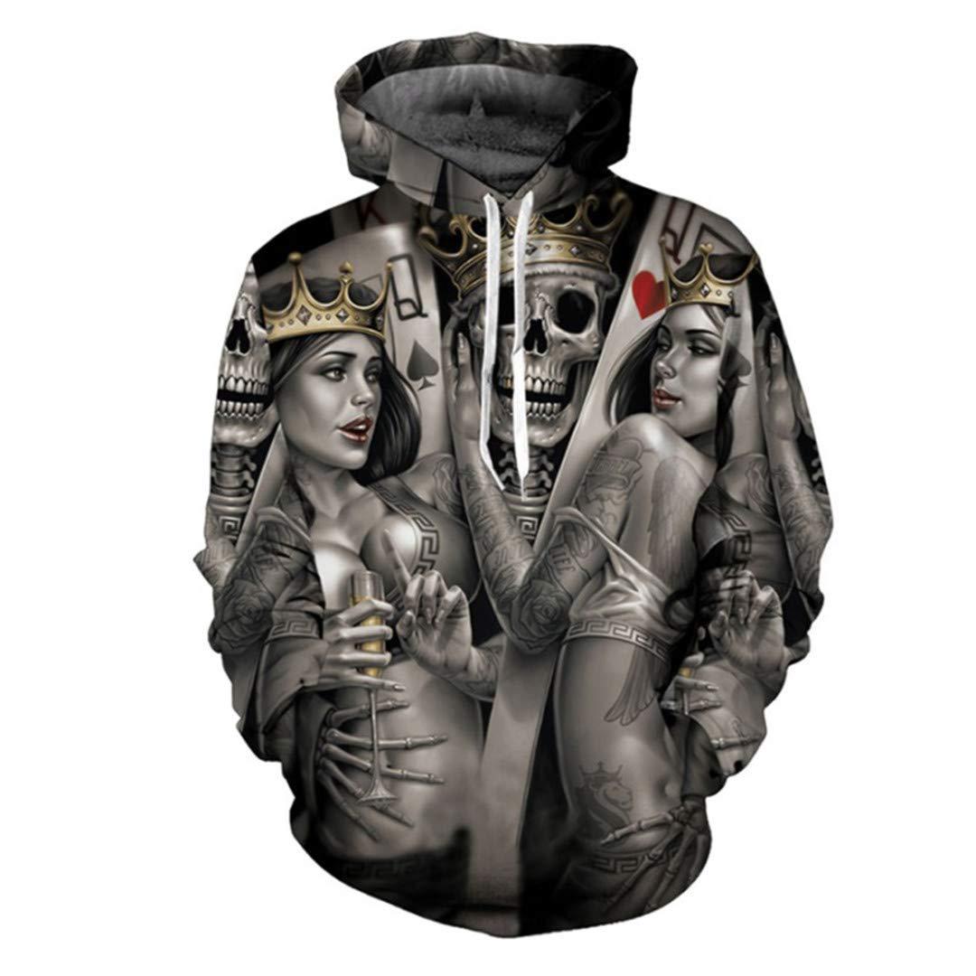 HURNCZQOEF Fashion Skull Poker 3D Hoodies Men Women Hoodie Casual Sweatshirts