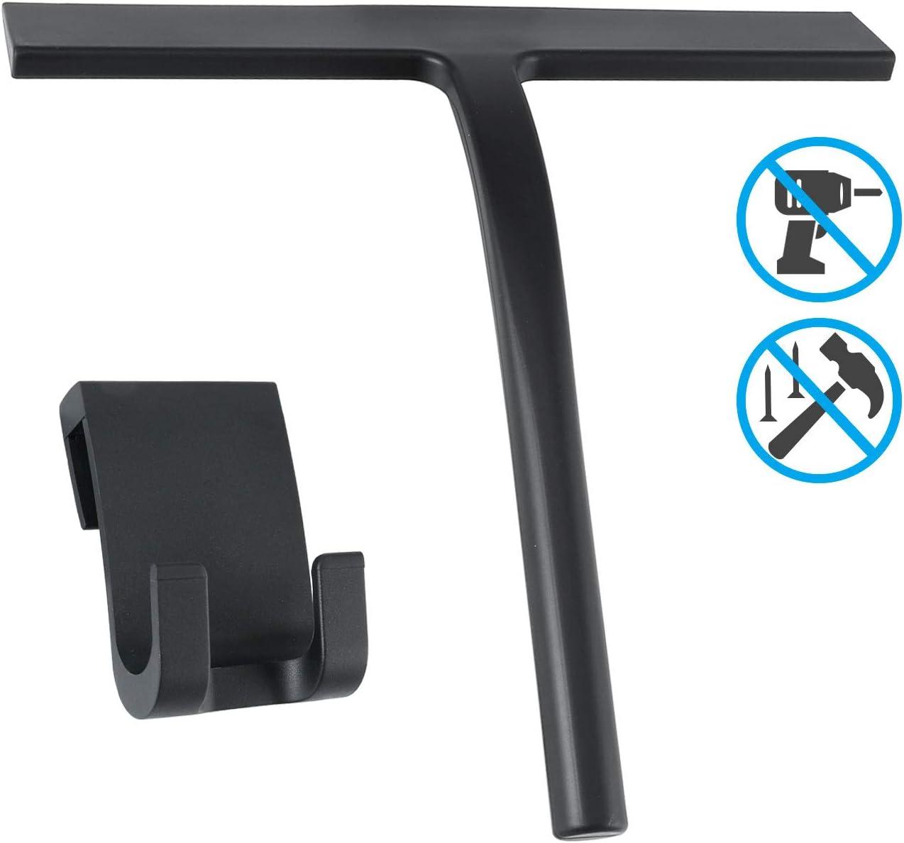 Escobilla de ducha Limpiador de silicona negra con núcleo con gancho para colgar para baño, cocina, espejo, ventana, limpieza de cristales de coche (sin necesidad de instalar): Amazon.es: Hogar