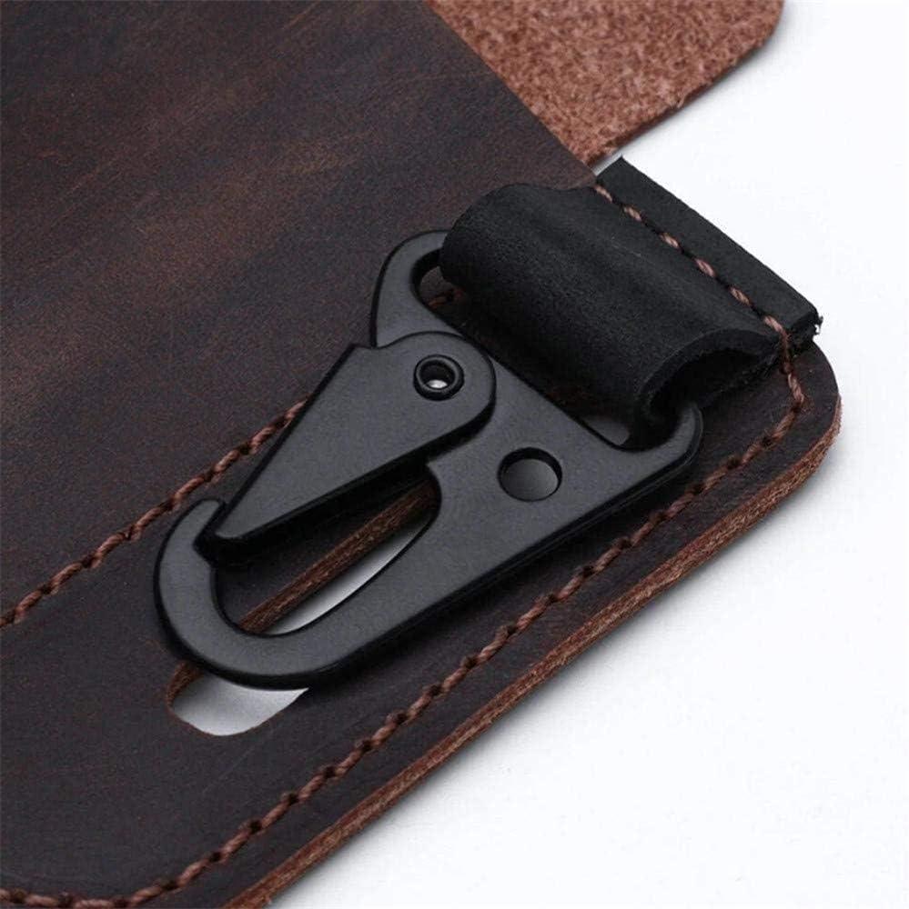 Organizador de bolsillo EDC con funda de cuero multiherramienta con porta llaves para cintur/ón y funda de herramienta m/últiple con funda para linterna Brown