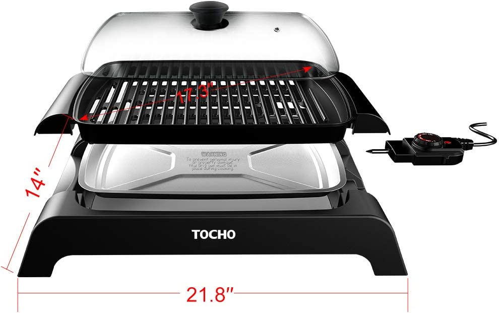 TOCHO Electric Grill, BBQ Griddle with non-stick plates and lid,indoor smokeless 16 12 120V 60Hz 1500W