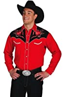 Western Express - Chemise americaine cowboy country Rouge Fleurs brodees - 100% coton - Homme - Taille M