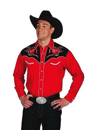la clientèle d'abord dernière remise Super remise Western Express - Chemise americaine cowboy country Rouge Fleurs brodees -  100% coton - Homme - Taille M