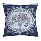 Ambesonne Ethnic Throw Pillow Cushion Cover, Bohemian Elephant Figure with Gypsy Inspirations Spiritual Oriental Figures Graphic, Decorative Square Accent Pillow Case, 16 X 16 Inches, Navy Blue