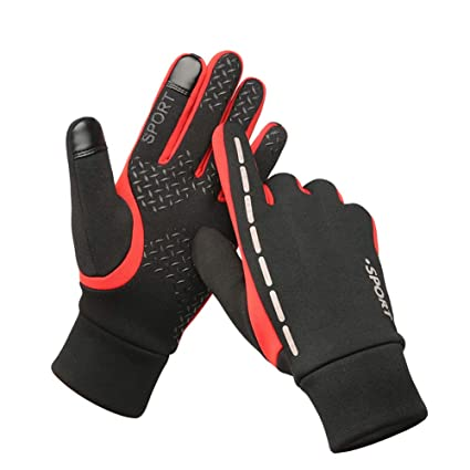 9c02b154f0f97 Leber Running Gloves Touch Screen for Men and Women Waterproof and Winter  Warm Perfect Bike Riding Motorcycle Running Mountaineering Driving Outdoor  ...