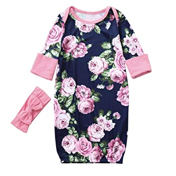 b79fbf83157d Amazon.com  Newborn Baby Girls Long Sleeves Floral Print Sleeping ...
